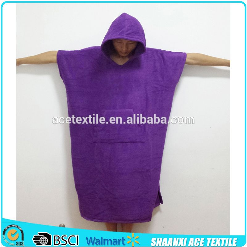 2ba9a7f3cc4 Cotton Terry Purple Color Surf Changing Hooded Adult Towel Poncho On Beach/ Adult  Poncho Hooded