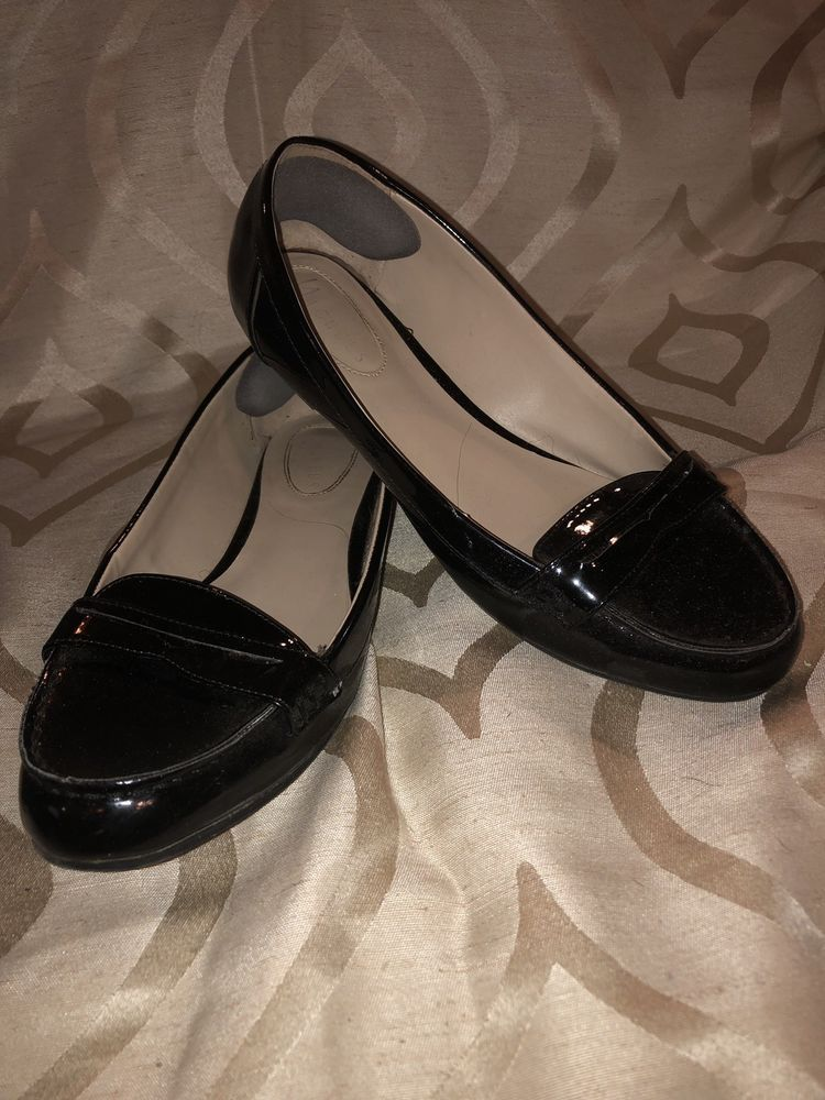 Nickels Womens Black Leather Slip On Flats Loafers Size 8 1 2