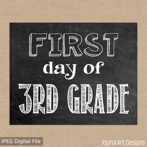 graphic about First Day of 3rd Grade Sign Printable known as Initial Working day of 3rd Quality Chalkboard PRINTABLE Indicator. Remaining Working day