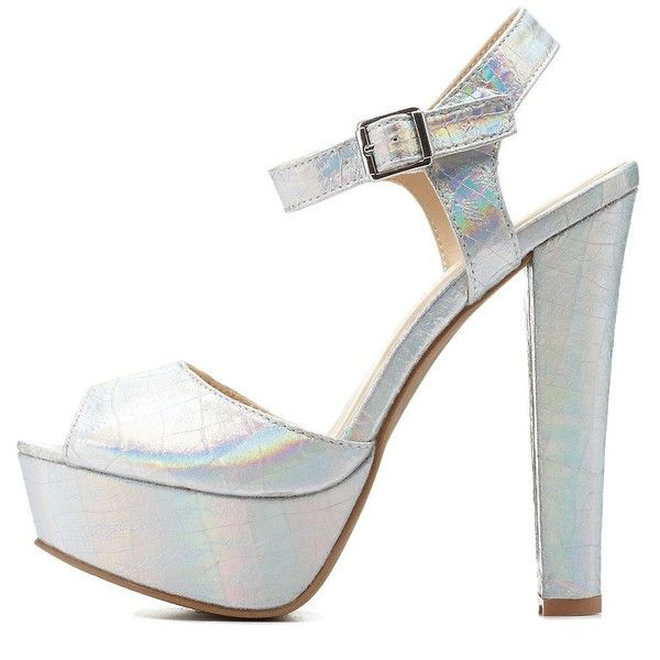 f2ecc310d9cc Charlotte Russe Silver Metallic Platform Chunky Heels by Charlotte... ( 36)  ❤ liked on Polyvore featuring shoes