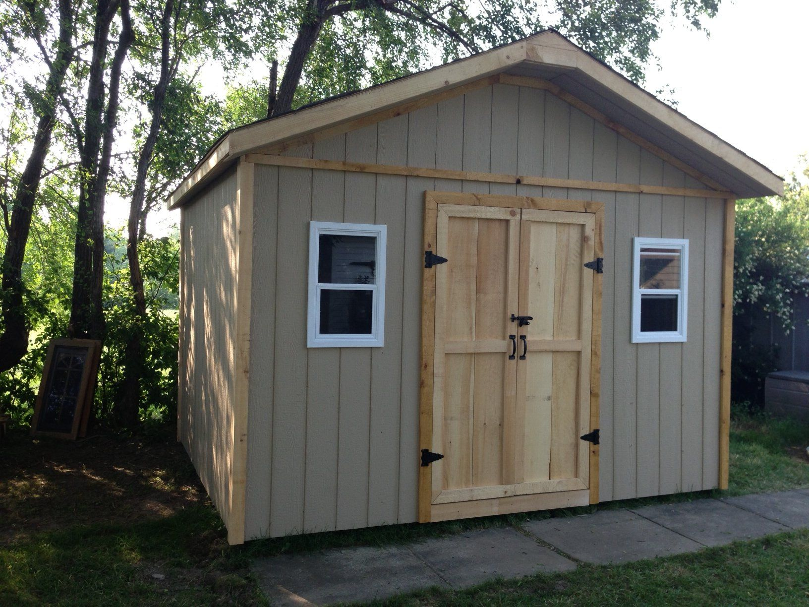 Gable style storage shed with 4 39 double doors side for Double door shed plans