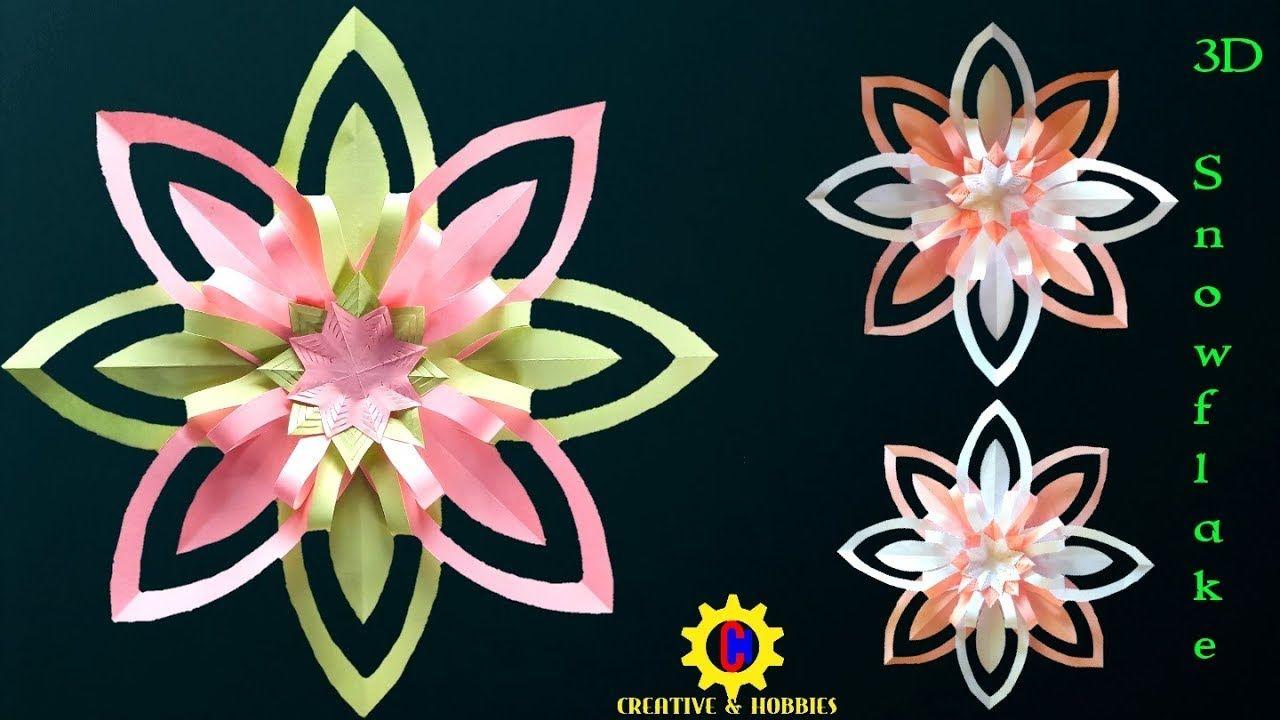 Diy Tutorial 3d Snowflake For Christmas Decoration From Paper Perhiasan Natal Natal Hiasan