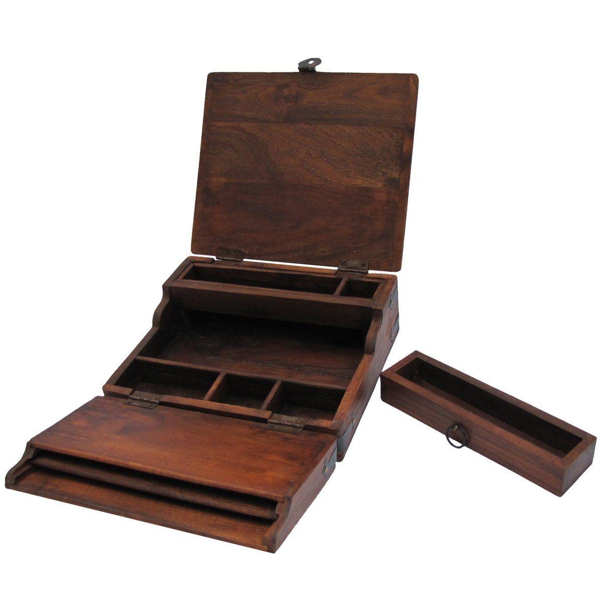 Antique style wood folding travel writing lap