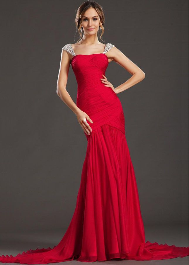 Red Mermaid Dress Red Long Jeweled Strap Ruched Mermaid Prom