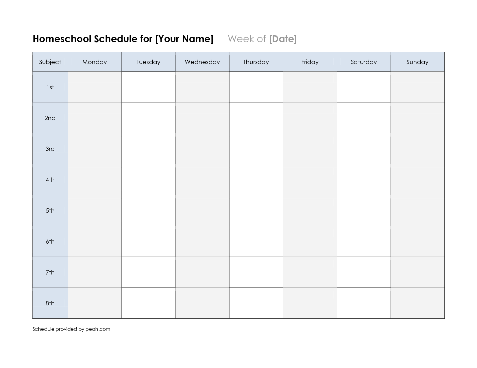 free printable class schedule template | printable weekly ...