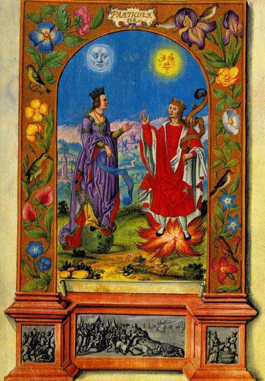 """Sole e Luna dal manoscritto """"Splendor Solis"""", versione del 1582 - Kupferstichkabinett, Berlino."""