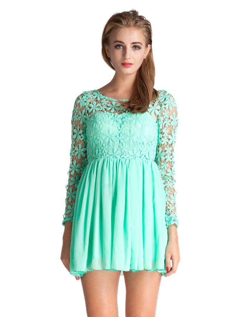 e73097e6ede Light Green Lace Panel Long Sleeve Backless Pleated Dress