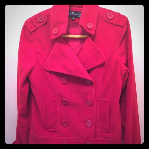Fall Preview SALEShort Peacoat Short red peacoat with button detailing. In great condition. 100%polyester Jackets & Coats