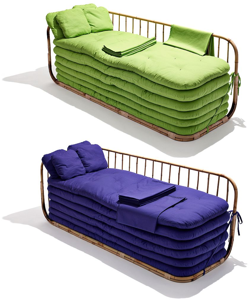 Sofa bed with multiple futon pads for multiple guests