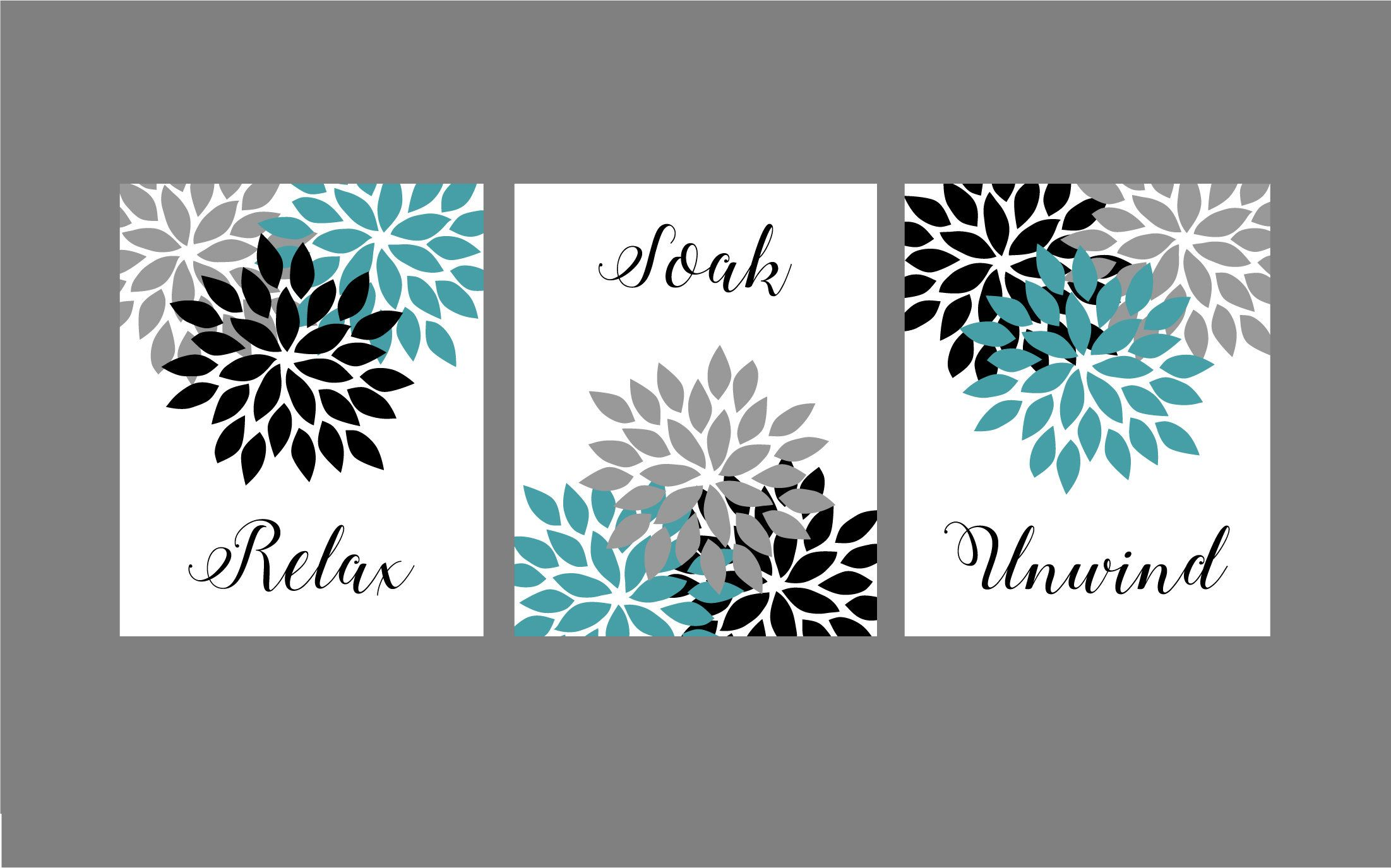 Teal Turquoise Grey Black Bathroom Wall Art Prints Relax Soak Neutral Bathroom Decor Turquoise Bathroom Decor Black Bathroom