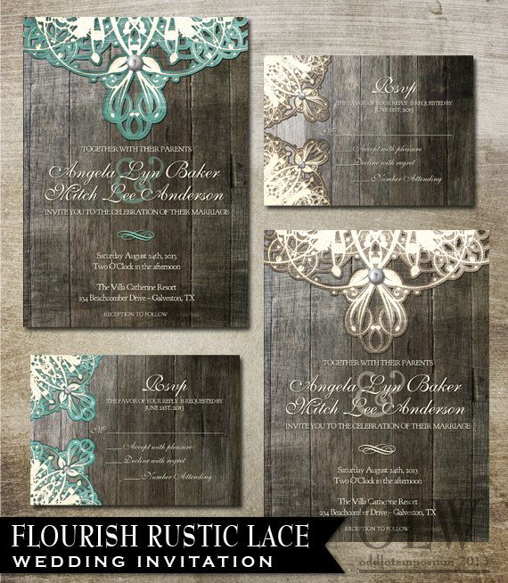 Rustic lace wedding invitation and rsvp digital for Digital wedding invitations with rsvp