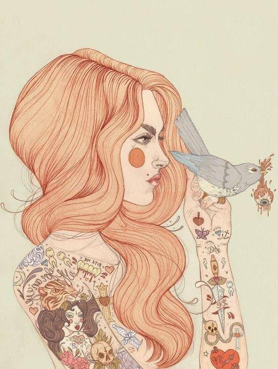 Illustration: Girl with tattoos. Illustration by artist Liz Clements. Find more of her work at http://lizclementsillustration.com/