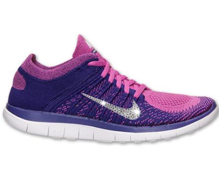 half off 65158 e3f5a 2014 Glitter Shoes - Nike Free Flyknit 4.0 Running Shoes - w Swarovski  Crystal Detail - Club PinkWhiteCourt Purple