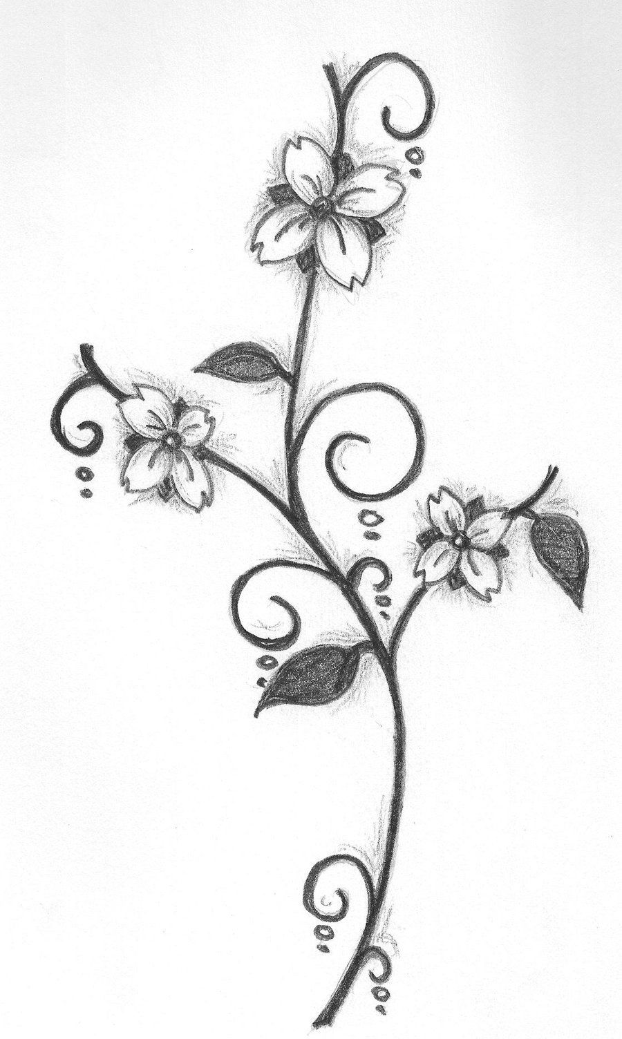 Simple flower drawing in pencil