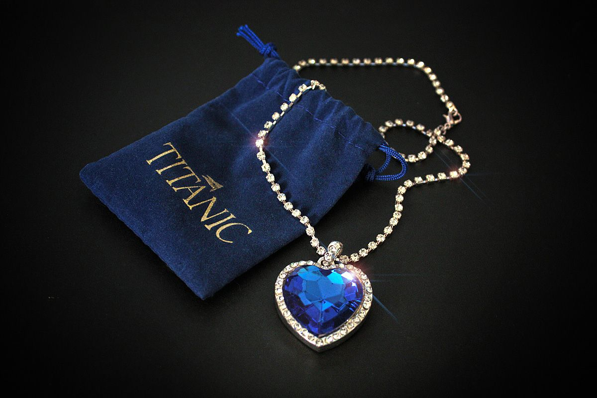 Large Costume Heart of the Ocean Necklace with sparkling custom chain. - Titanic Museum Attraction in Branson, Missouri and Pigeon Forge, Tennessee