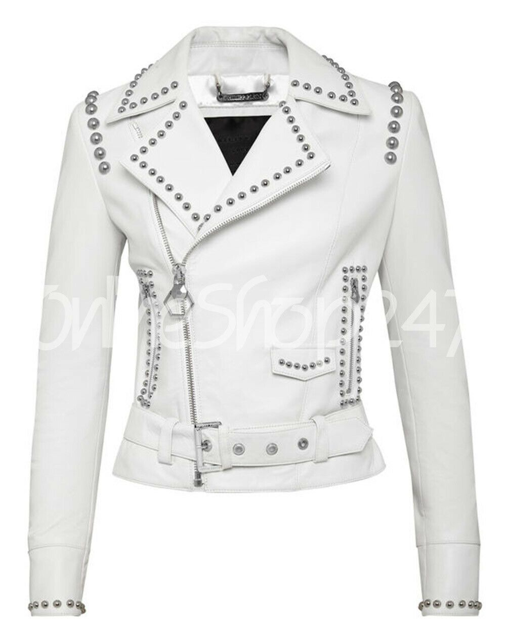 8815cdc92 Details about New Women White Full Silver Metal Studded Brando Style ...