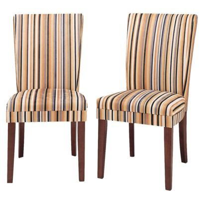 Sasha Upholstered Stripe Fabric Dining Chair Set Of 2