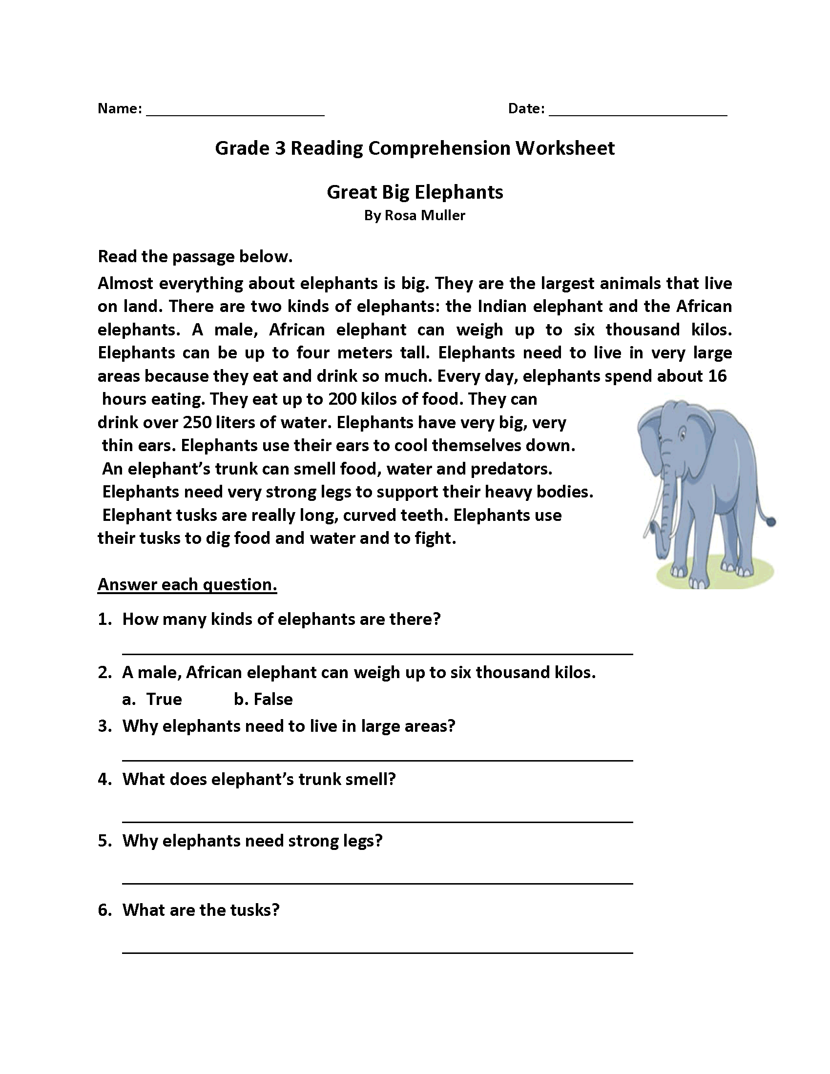 Homework Sheets Grade 3 Reading