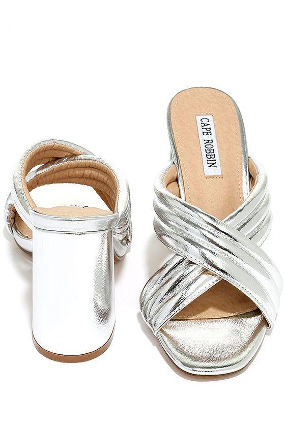 53d907bfc90 Stylish Silver Heels - Peep-Toe Mules - Mule Heels -  32.00