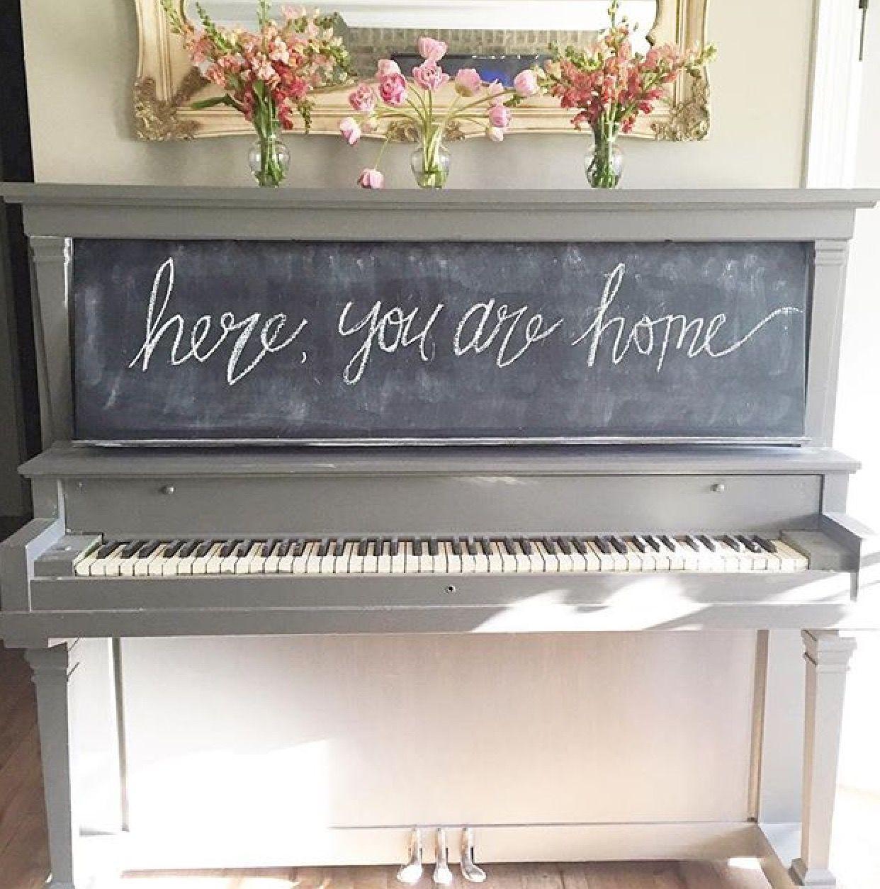 Chalkboard Painted Piano Piano Decor Painted Pianos Piano Restoration