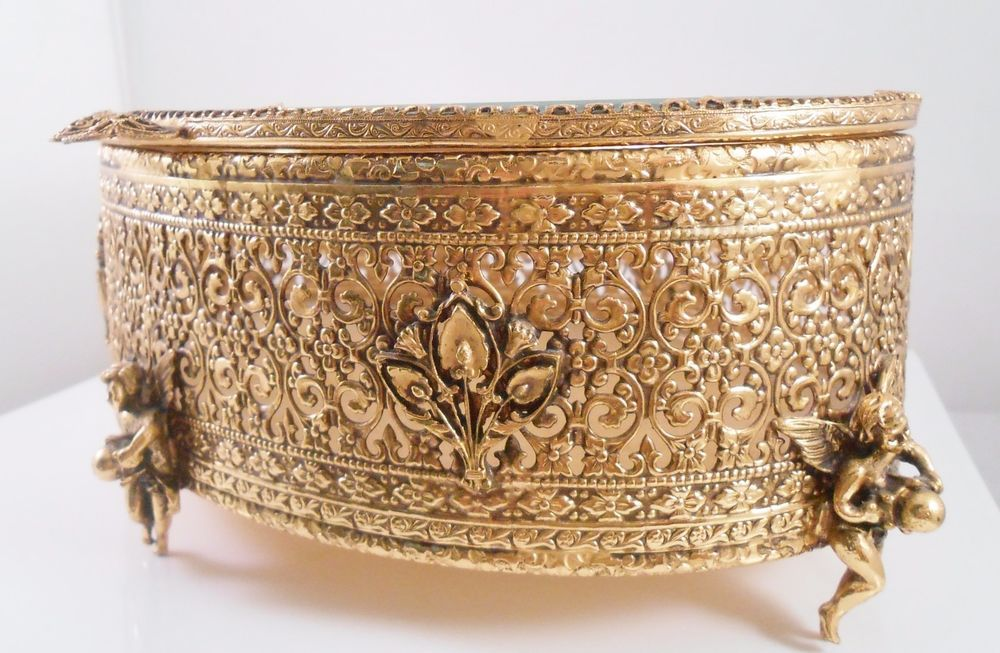 Ormolu Jewelry Casket Oval Footed Cherubs Beveled Glass #Unbranded