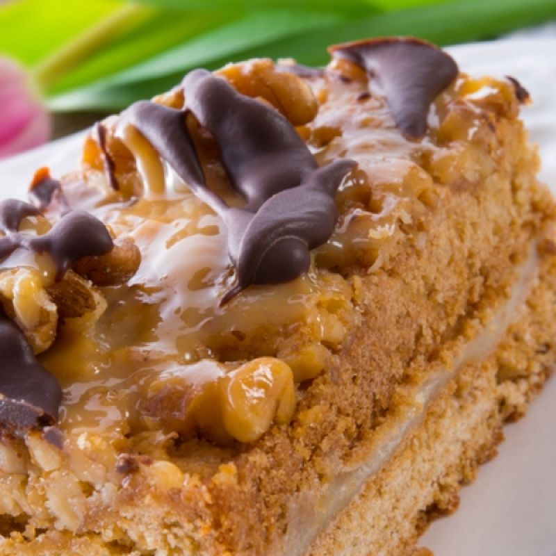 A Very tasty recipe for caramel cake with caramel sauce and walnut topping.. Walnut Topped Caramel Cake Recipe from Grandmothers Kitchen.