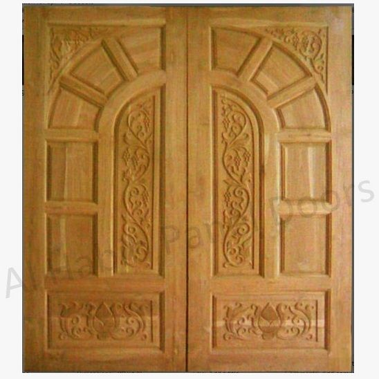 Diyar solid wood double door hpd506 main doors al for Wood door design latest
