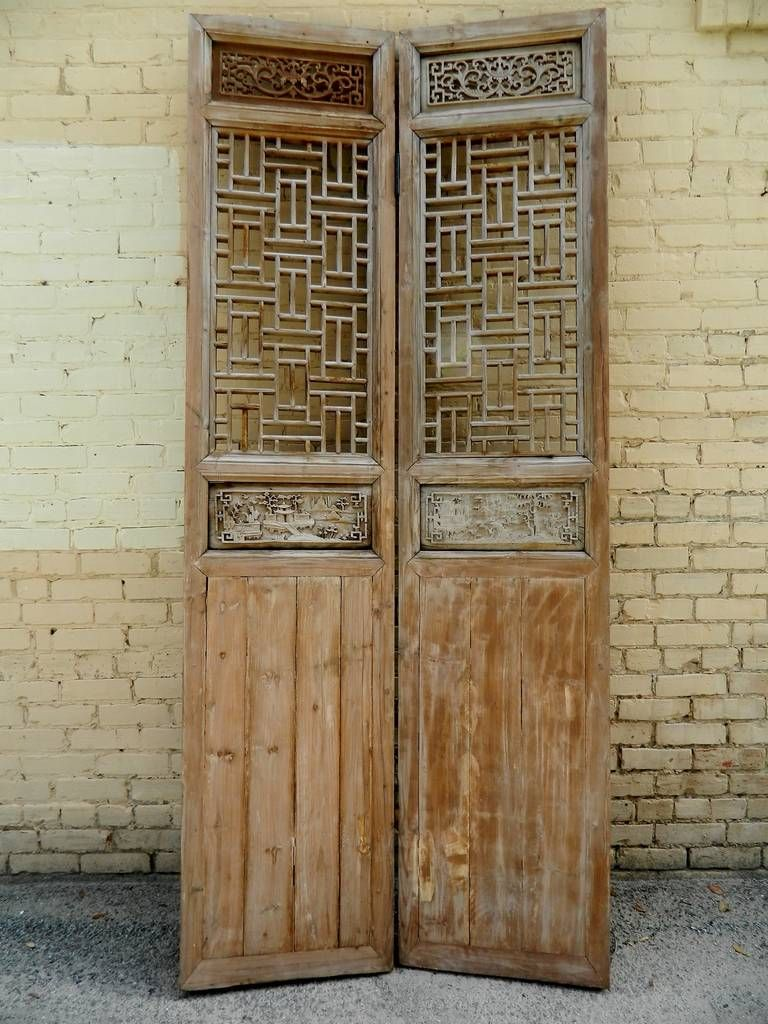 19th century large chinese fourpanel wooden lattice door