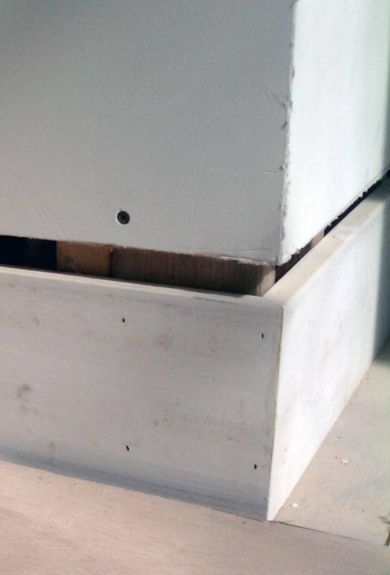 Mdf Baseboard And Drywall Before Shadow Bead Installation