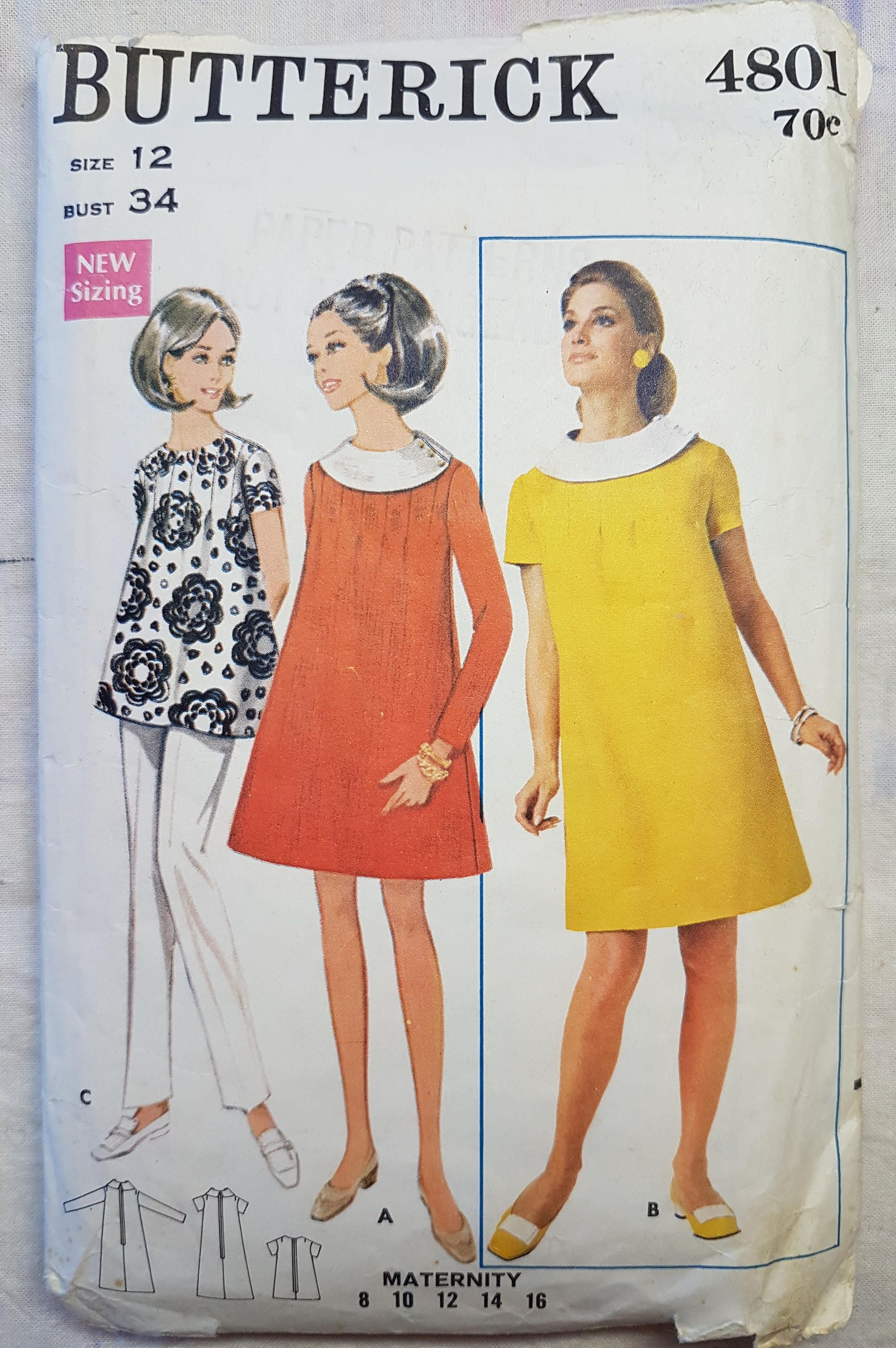 60s butterick 4801 maternity dress or maternity top vintage sewing 60s butterick 4801 maternity dress or maternity top vintage sewing pattern size 12 34inch by vintageguardian ombrellifo Images