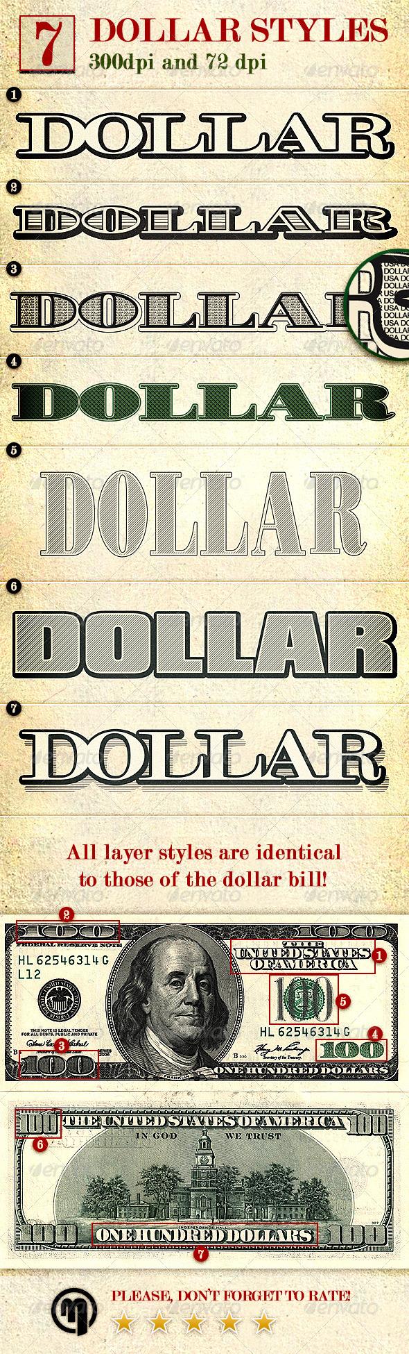 Dollar - Photoshop Layer Styles | Design | Layer style ...