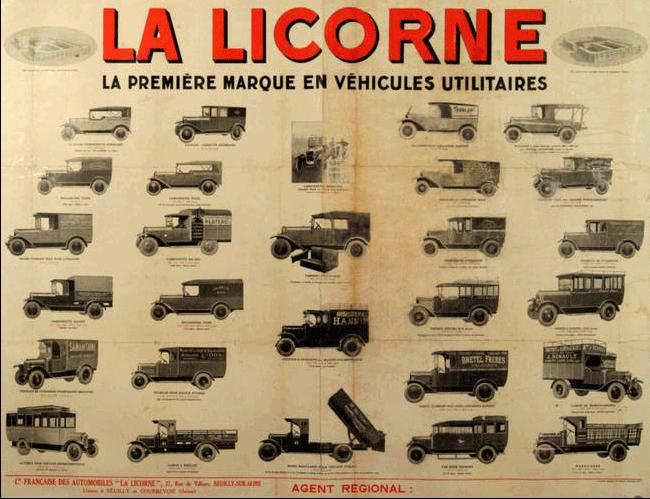 affiche publicitaire pour les v hicules utilitaires la licorne la production s 39 arr te en 1949. Black Bedroom Furniture Sets. Home Design Ideas