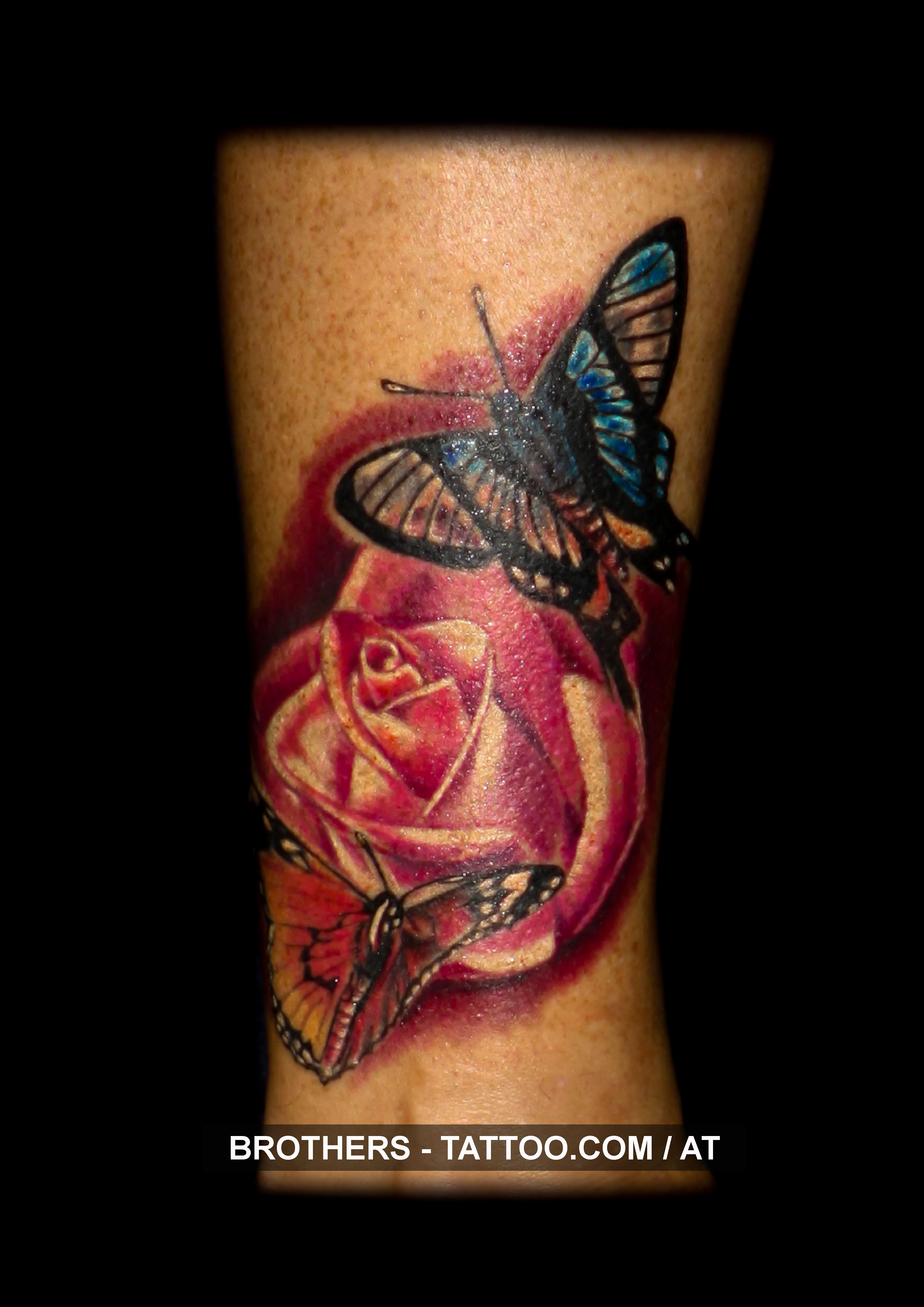 Rose Butterfly Tattoo Color Year 2016 Rose Roses Butterfly Butterflies Pink Color Colorful Butterfly Tattoo Butterfly Tattoo On Shoulder Color Tattoo