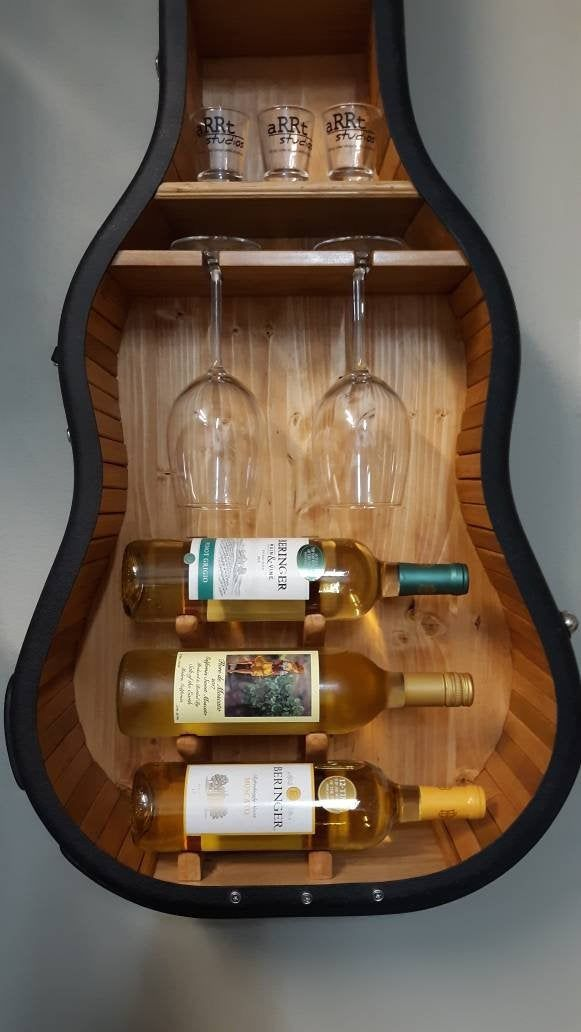 Guitar Case Shelf #18. Recycled guitar case with custom wine rack and shelves.