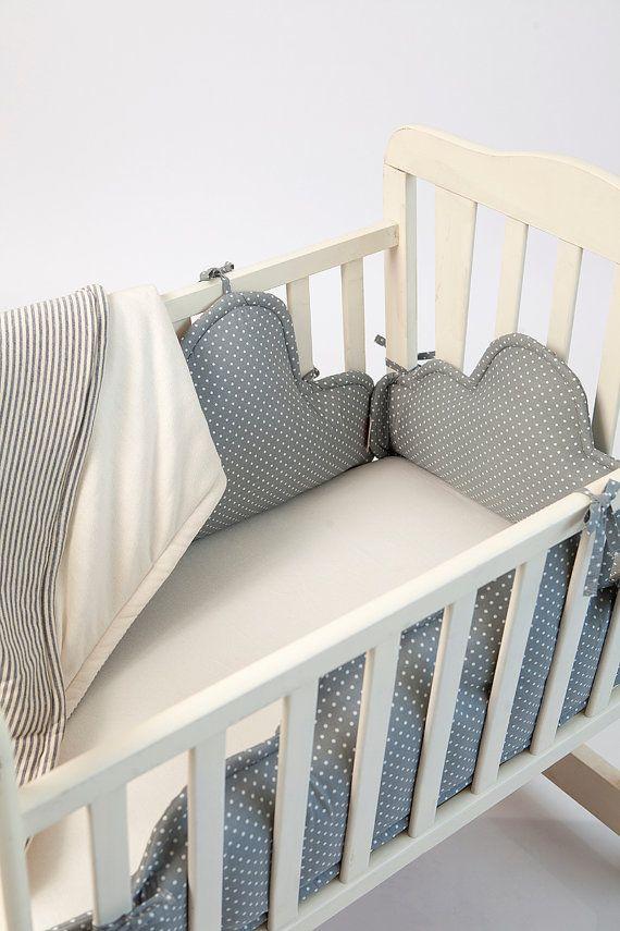 Baby Crib Bumper Grey White Polkadots Clouds Baby Bed Bumper
