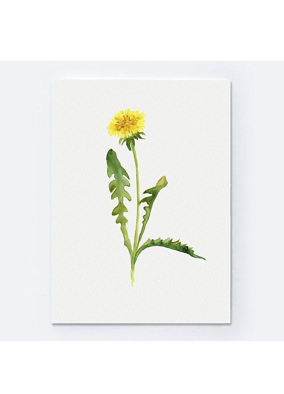 Common Dandelion Art Print Yellow Flower Abstract Watercolor Painting Dandelion Clip Art Green Wall Decor Dandelion Art Dandelion Painting Dandelion Drawing