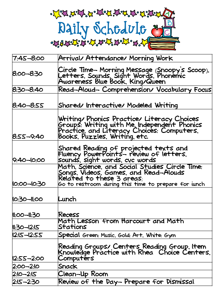 Kindergarten Celebration: Daily Schedule