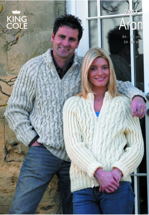 Jacket and Sweater Knitted in Fashion Aran - King Cole   dos agujas ...