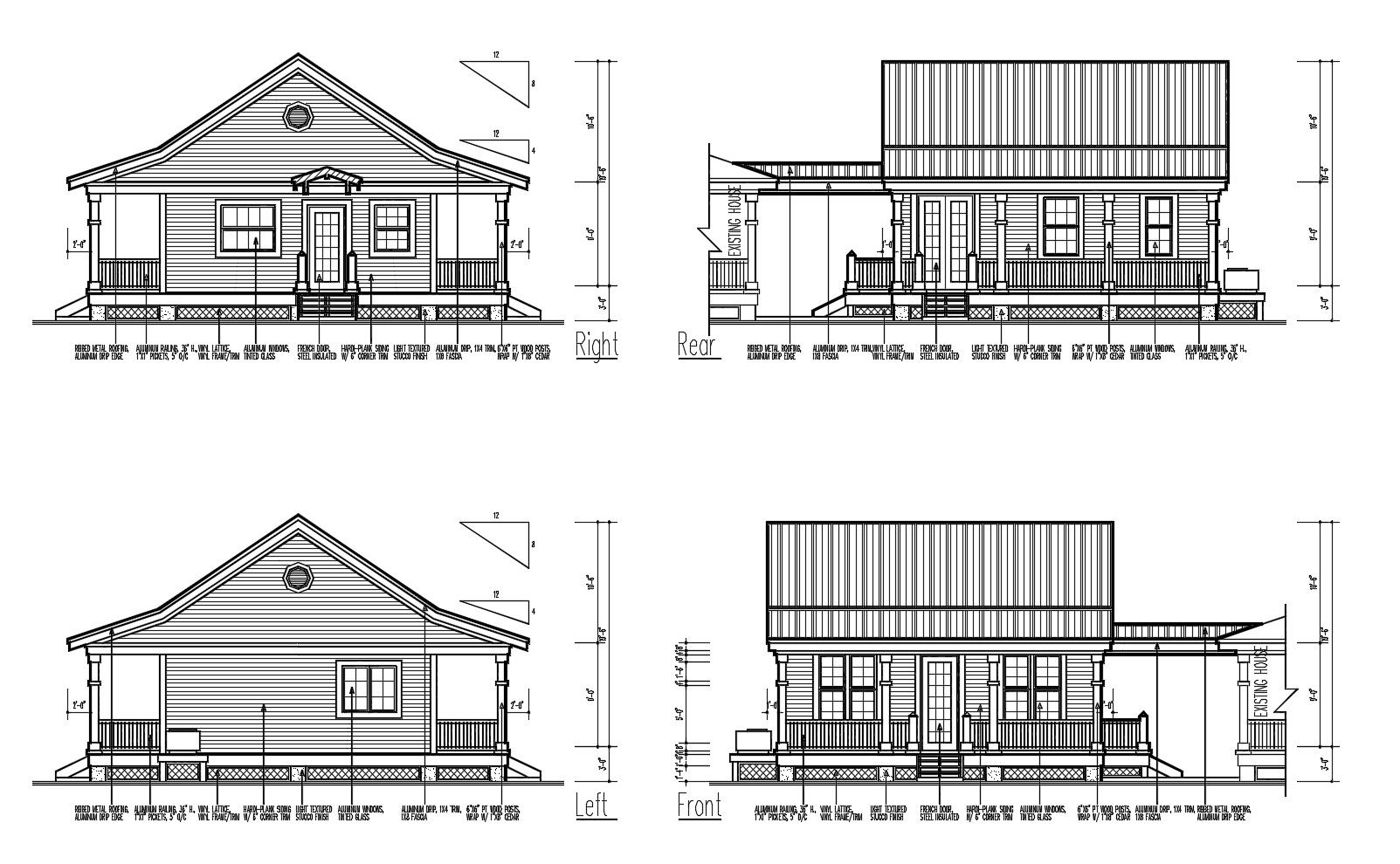 Elevation Drawing Of A House Design With Detail Dimension In Autocad Elevation Drawing House Elevation Two Story House Design