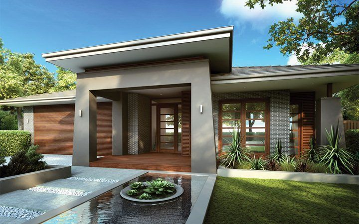 Water Feature Facade House Single Floor House Design House Exterior