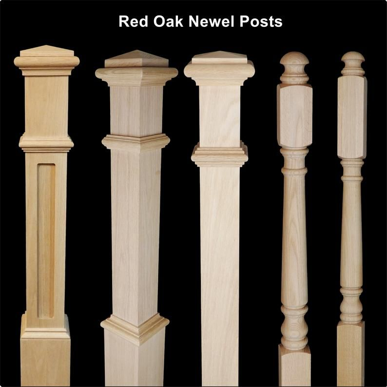 Red Oak & Primed White Newel Posts- Posts For Stairs In