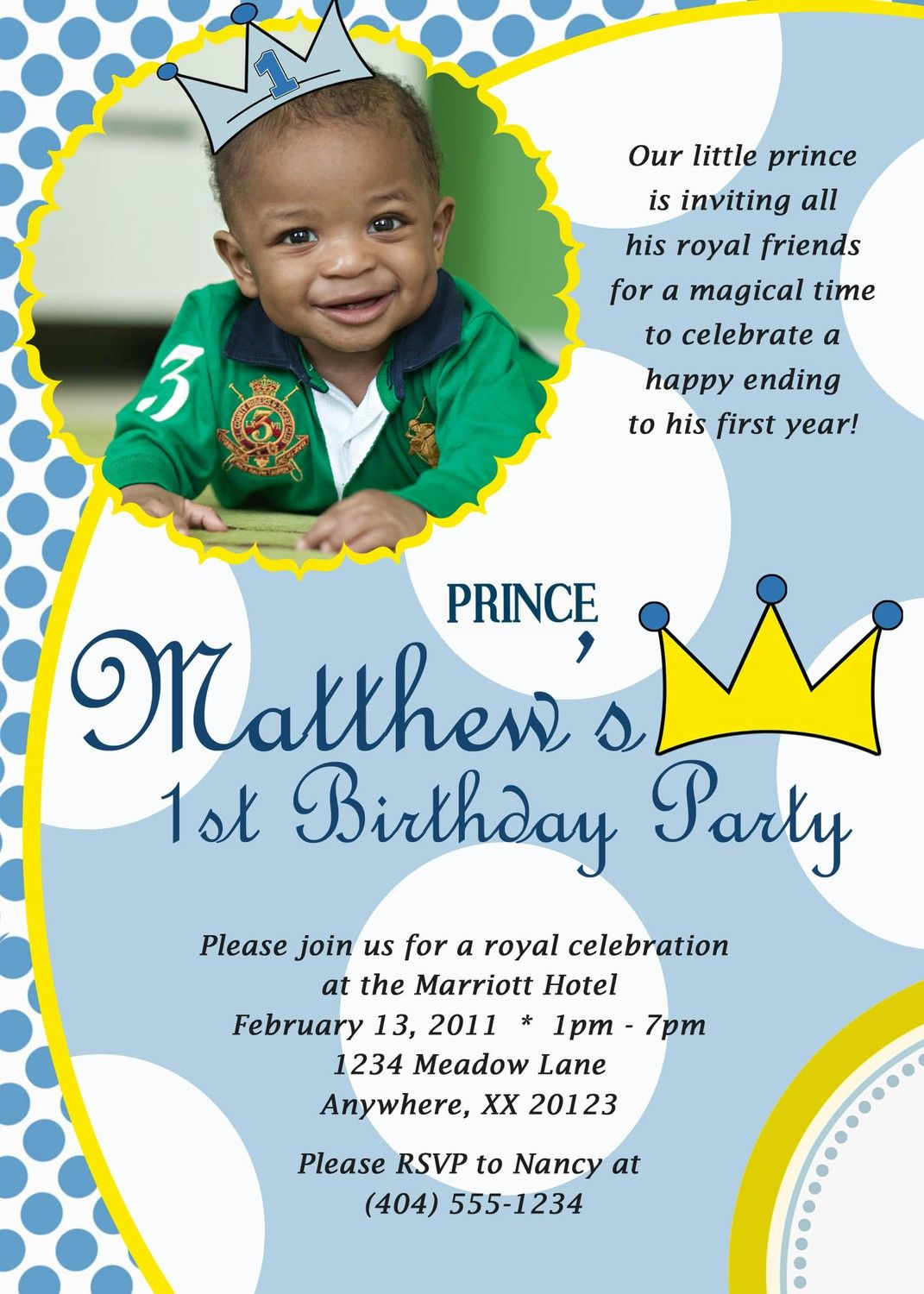 Little Prince Custom Digital Photo Birthday Party Invitation – Prince 1st Birthday Invitations