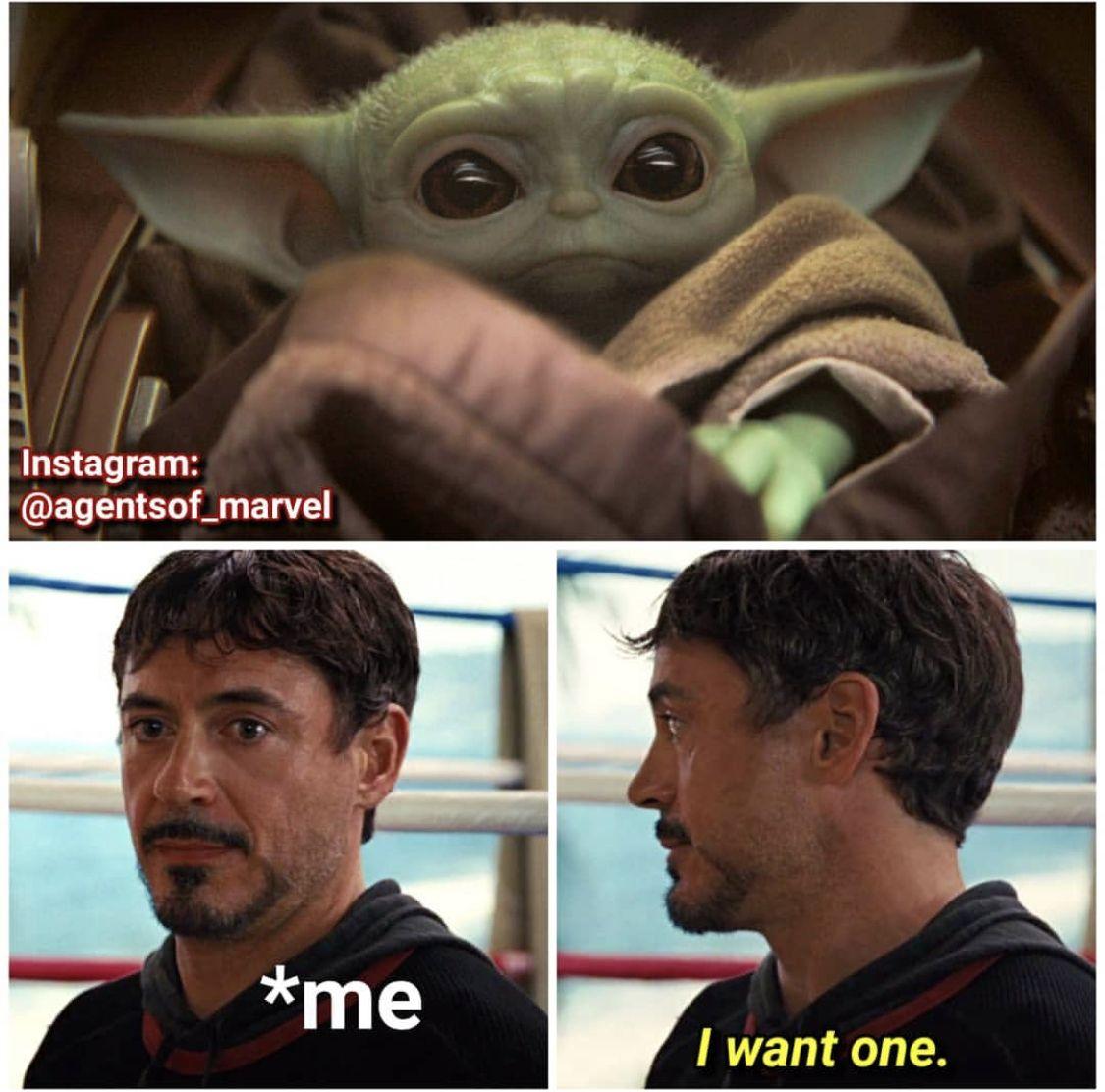 Baby Yoda The Child The Mandalorian Tony Stark Iron Man Star Wars Memes Yoda Meme Funny Star Wars Memes