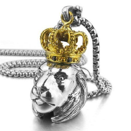JBlue Jewelry Men's 925 Sterling Silver Pendant Necklace CZ Silver Gold Crown Lion Biker (with Gift Bag), http://www.amazon.com/dp/B00F2H3440/ref=cm_sw_r_pi_awdm_4wR7sb04JAPXY