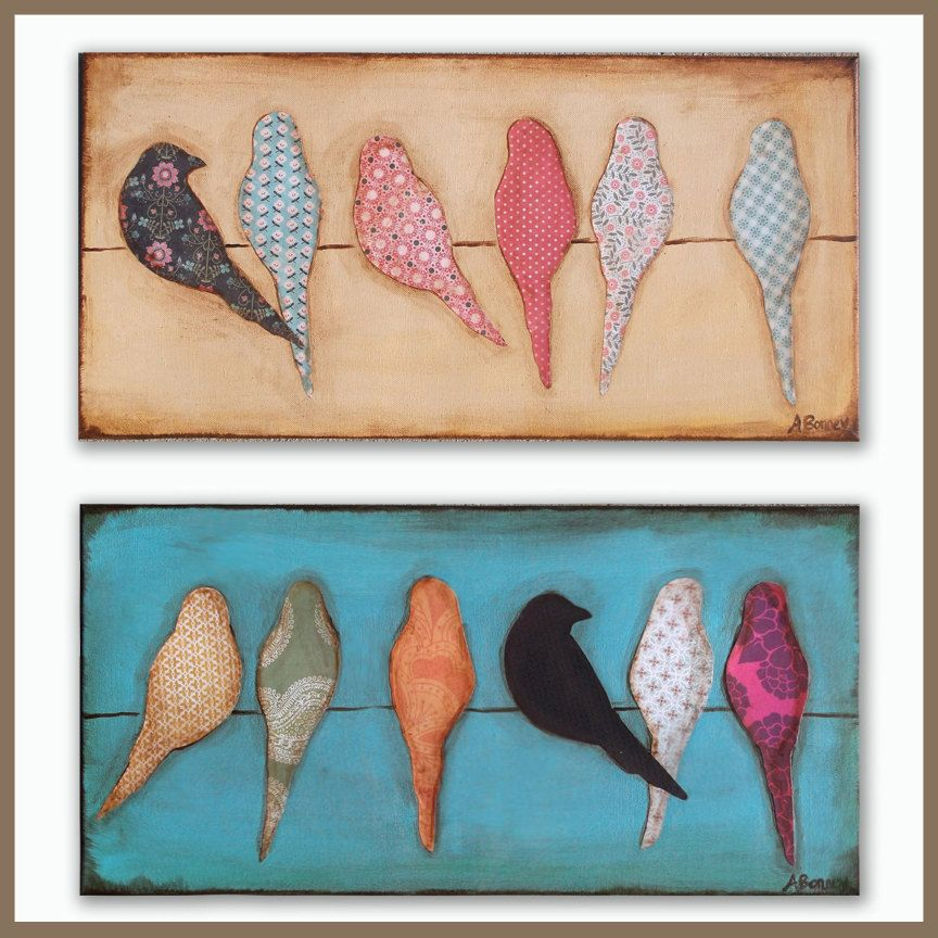 12x24 Made to order Mixed Media Bird Silhouette Art on Canvas ...
