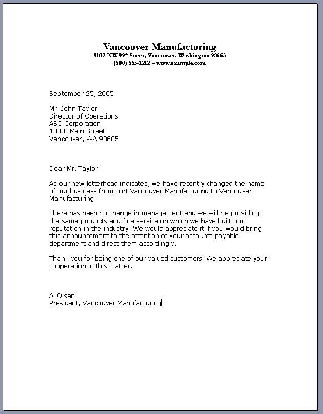 Business Name Change Letter How To Write A Business Letter Changing