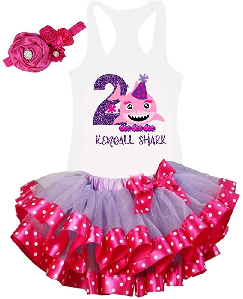 Personalized 2nd Birthday Shark Outfit, Glitter Second