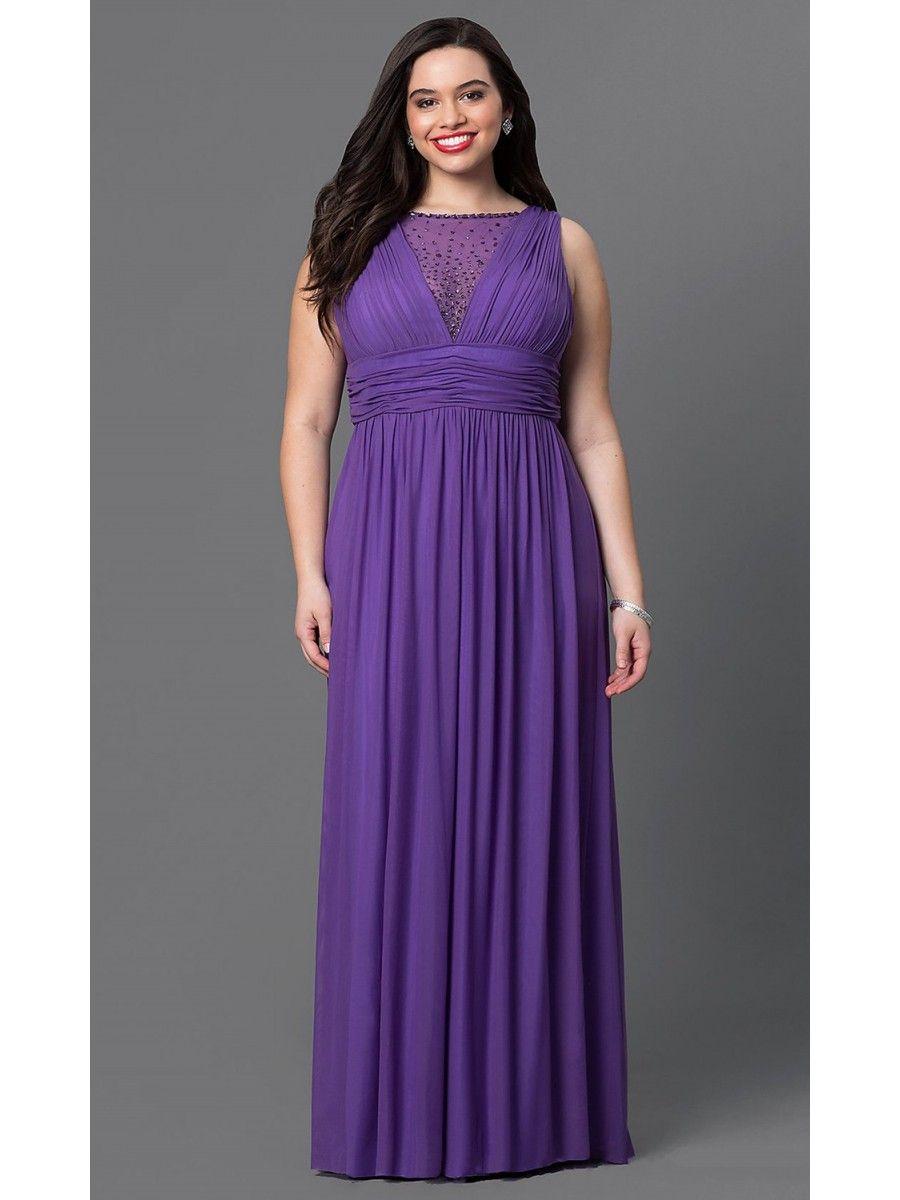 Long Purple Beaded Chiffon Plus Size Prom Evening Dresses 99502011 ...