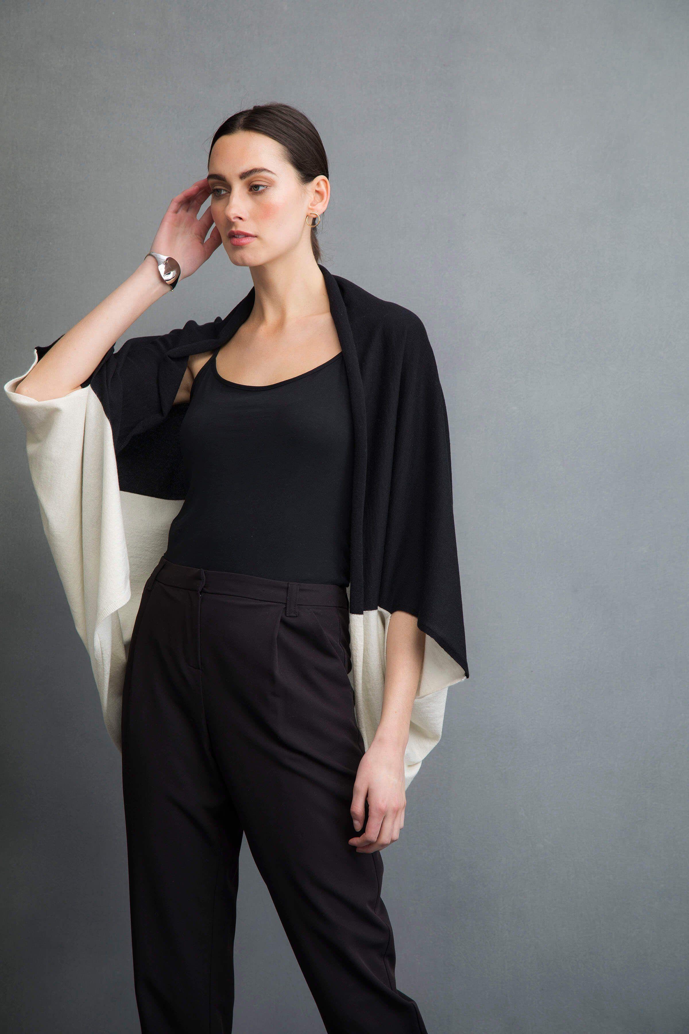 Cashmere silk shrug style cardigan in black & white