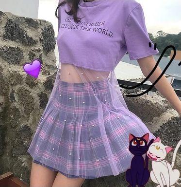 Moon embroidery plaid skirt   Piccolo kawaii fashion